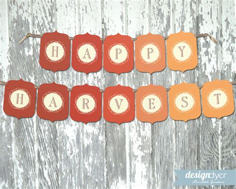 printable harvest banner items similar to happy harvest printable thanksgiving fall