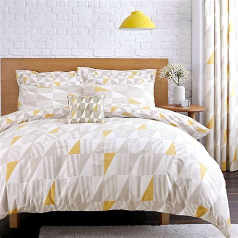 yellow bedding skandi geometric yellow duvet cover set dunelm home