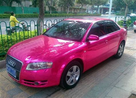 pink audi a4 audi a4 gets ostentatious pink chrome wrap and wrap