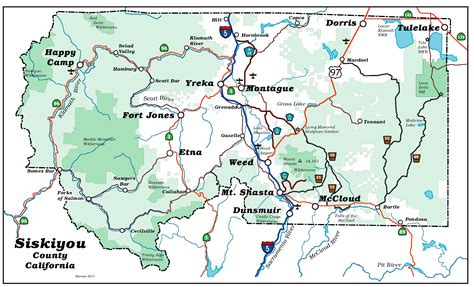 map of oregon border highlighting siskiyou county attractions