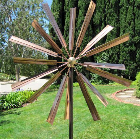 spinning garden kinetic copper wind sculpture windmill spinner ebay