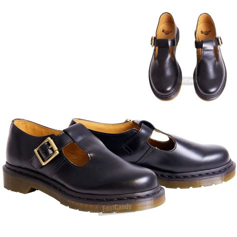 womens dr martens casual polly black leather t bar