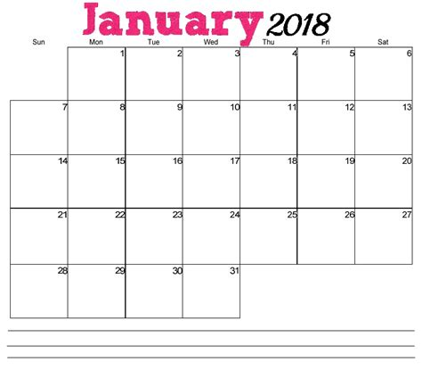 2018 Printable Calendar Word January 2018 Printable Calendar Word Calendar 2018