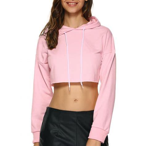 Crop Hodie Pink wholesale edge cropped hoodie s pink crop tops rosewholesale