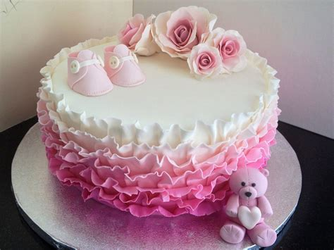 Single Layer Baby Shower Cakes by Beautiful Single Tier Pink Ruffle Baby Shower Cake With