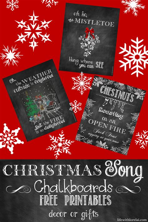 christmas song chalkboards printable decor or gifts