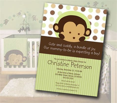 Pop Monkey Crib Bedding Monkey Baby Shower Invitation Matches Mod Pod Pop Monkey Nursery Bedding