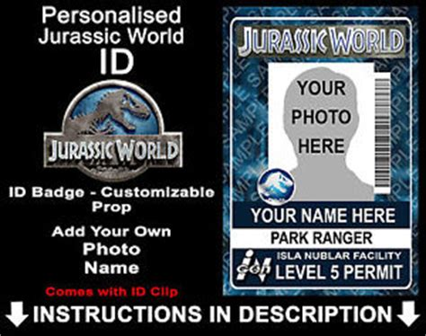 jurassic world id card template jurassic world personalised id badge dinosaurs