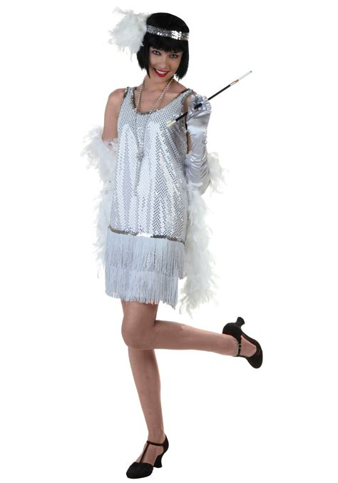 costume flapper flapper roaring costume ideas 1920s era costumes silver plus size flapper dress costume