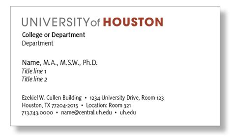 Uw Business Card Template by Business Card Of Houston