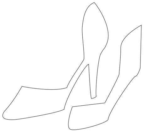 Free High Heel Shoe Template For Cards by High Heel Template Clipart Best