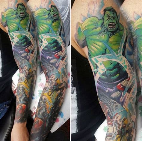 marvel tattoo sleeve 60 marvel tattoos for comic design ideas