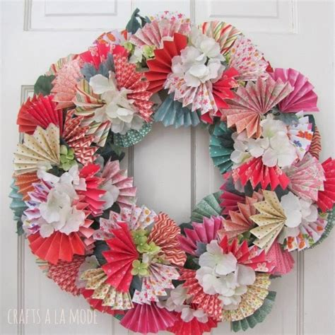 spring wreaths to make spring wreath with paper fans and diy garden canopy