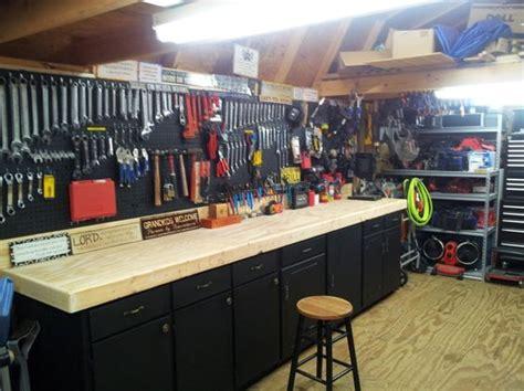 Garage Workbench Kitchen Cabinets Custom Workbench Made From Discarded Kitchen Cabinets
