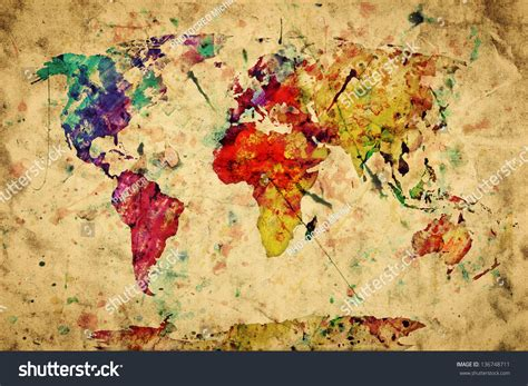 colorful vintage wallpaper vintage world map colorful paint watercolor retro style