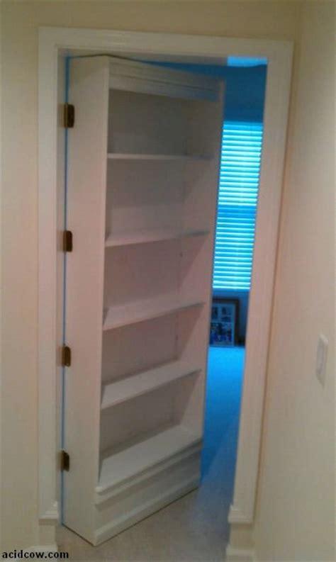 hidden door bookshelf diy  pics