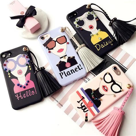 For Iphone 7 Plus Soft Fashion Glasses Tassel Korean Casin for iphone 7 plus fashion soft tpu tassel accesories rivets phone for