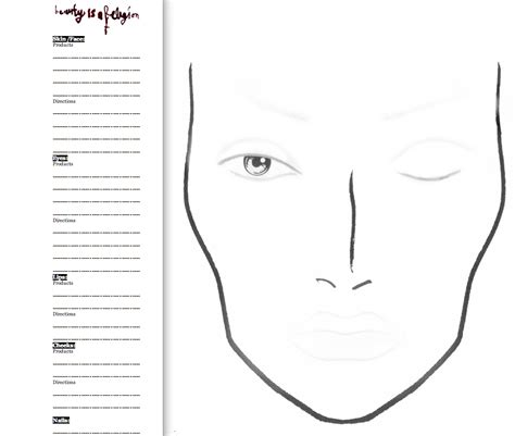 face chart really simple so that you can add stuff like