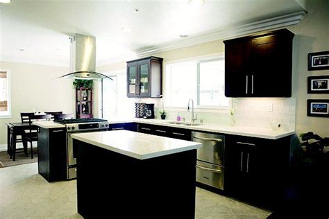 white and espresso kitchen cabinets espresso cabinets with white quartz countertop and white