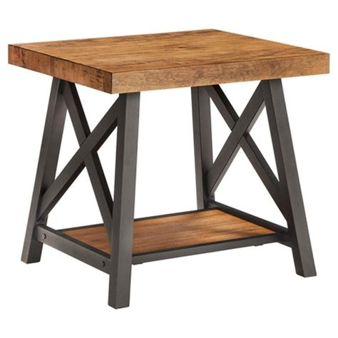 rustic metal and wood end tables lanshire rustic industrial metal wood end table