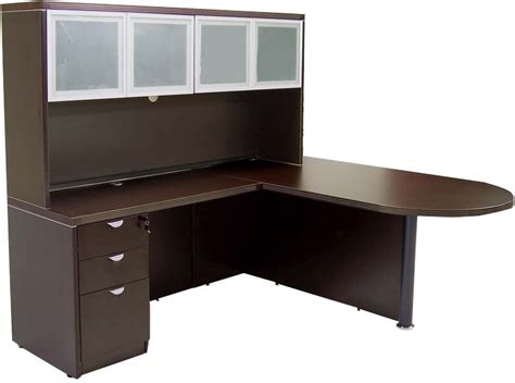 Free Office Desks Mocha Peninsula U Workstation In Stock Free Shipping