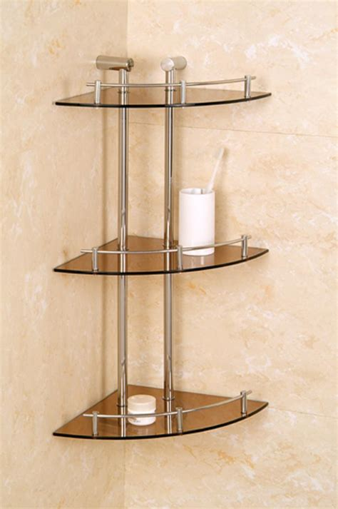 Bath Shower Corner Shelf Wall Bathroom Awesome 3 Tier Glass Shelf Corner Shower Holder