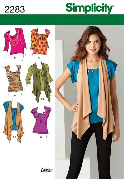 simplicity 2283 misses knit tops vest