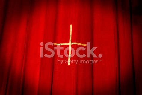 spinning crucifix crimson drapes stock curtains with cross stock photos freeimages