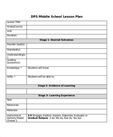 high school science lesson plan template high school science lesson plan template middle school