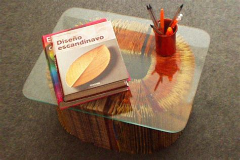 coffee table made from books phonebooktable ed01