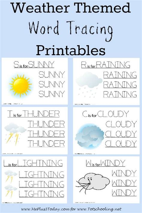 worksheets for preschoolers on weather free weather themed word tracing printables weather