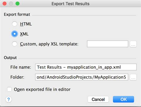 format file android studio unit testing how do i apply a custom xsl template to