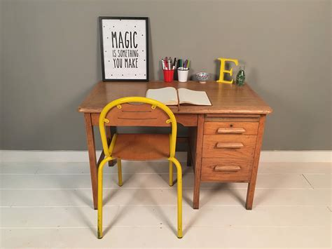Vintage Abbess Oak Desk with Drawers   Blue Ticking