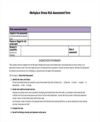 sle stress risk assessment forms 8 free documents in