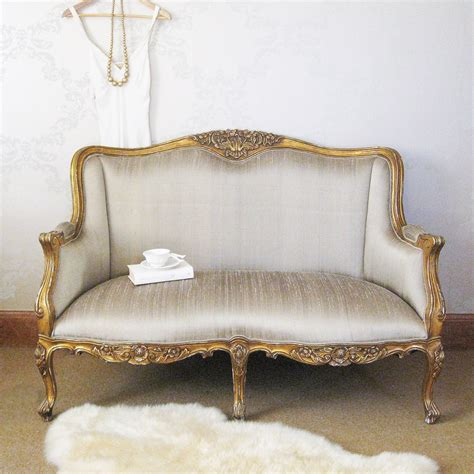 versailles gold bedroom sofa with silk upholstery