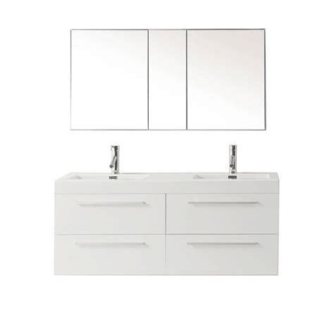 Polymarble Vanity Tops by Virtu Usa Finley 54 33 In W Vanity In Gloss White With Polymarble Vanity Top And Basin Jd 50754