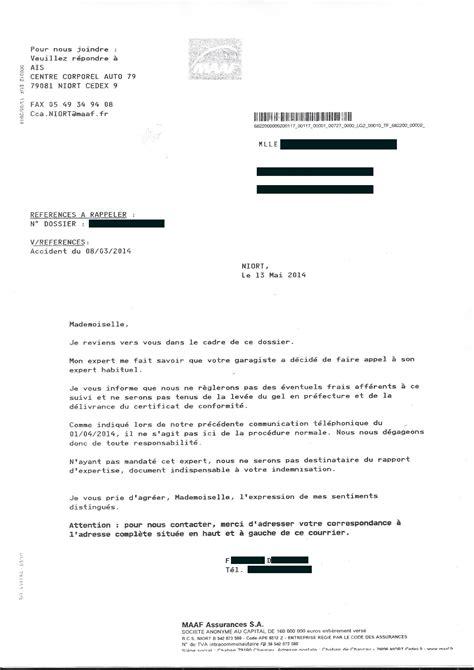 Exemple De Lettre Demande De Franchise Document Quand La Maaf Impose Quot Quot Expert 224 Assur 233 Apres Vente Auto