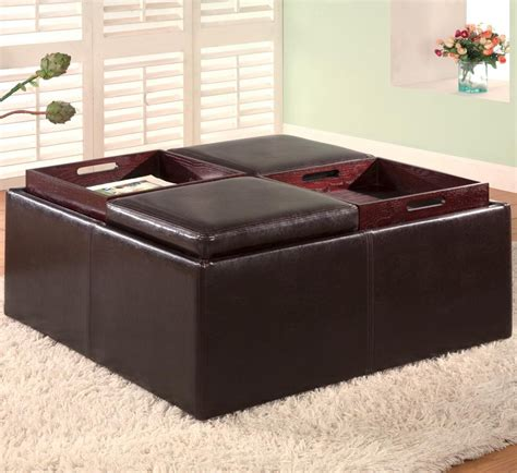 storage ottoman with tray top ottomans contemporary square faux leather storage ottoman