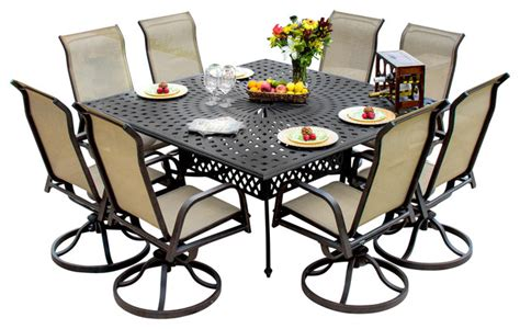 8 Person Patio Table Bay 8 Person Sling Patio Dining Set With Cast Aluminum Table Contemporary Outdoor
