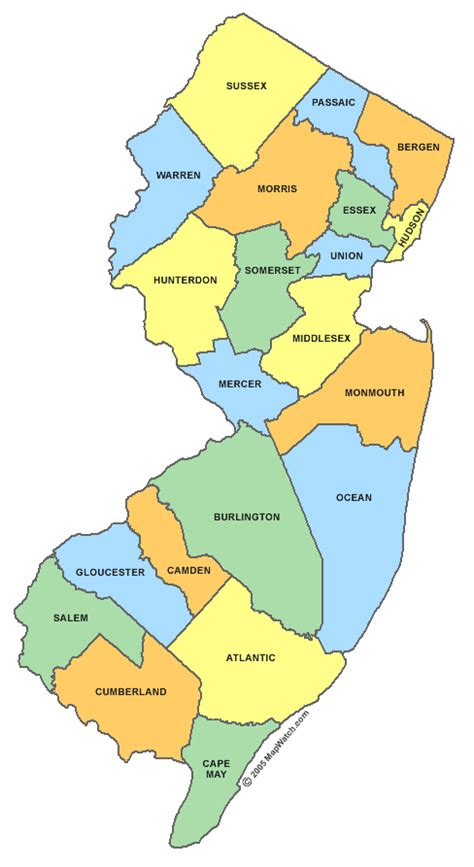 maps of counties new jersey county map