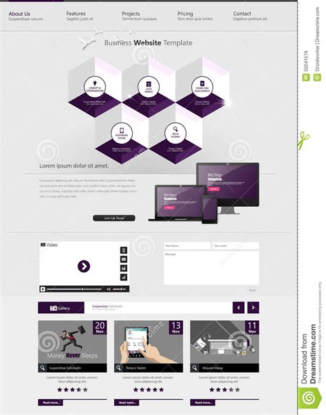 Website Template With Abstract Hexagon Infographics Design Eps 10 Vector Illustration Stock Hexagon Website Template