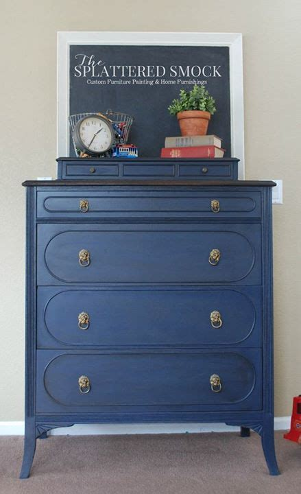 Coastal Blue Dresser Topped with Van Dyke Brown Glaze