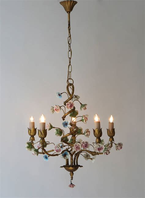Porcelain Chandelier by Italian Tole Chandelier With Porcelain Flowers At 1stdibs
