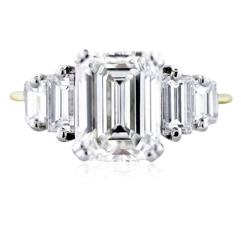 3 carat emerald cut engagement ring certified
