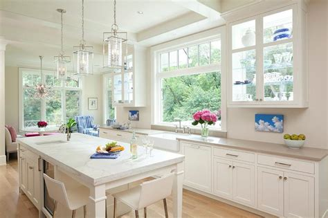 see through kitchen cabinets polished nickel darlana lanterns with marble top island