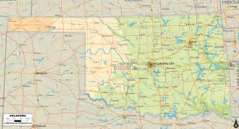 State Map Of Oklahoma by Physical Map Of Oklahoma Ezilon Maps