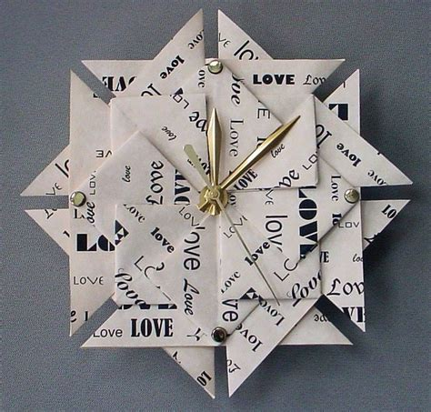 How To Make An Origami Clock - 1st anniversary gift origami clock large