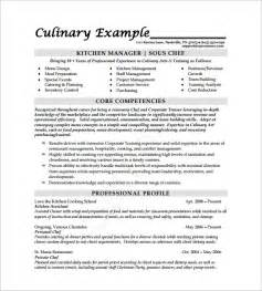 Kitchen Chef Resume Sle Chef Resume Free Excel Templates
