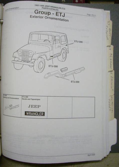 Jeep Dealer Parts Catalog Buy 1997 1998 1999 97 98 Jeep Wrangler Dealer Dealership