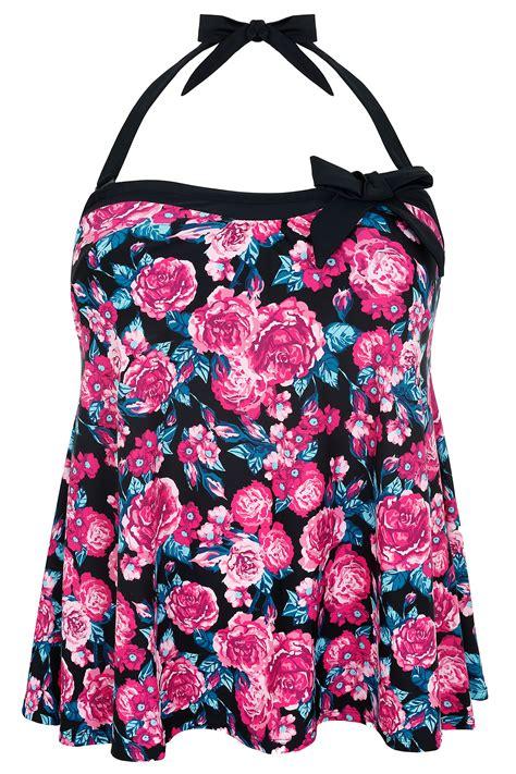 Floral Print A Line Top pink floral print a line halterneck tankini top plus size